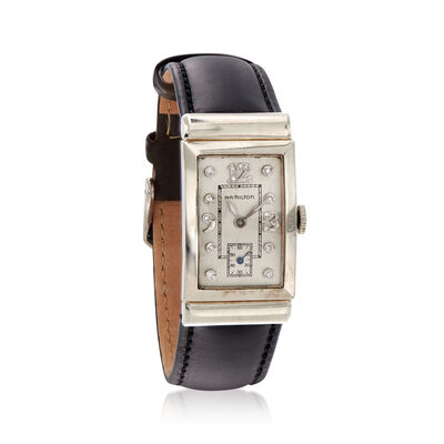 C. 1950 Vintage 21mm 14kt White Gold Hamilton Watch with .12 ct. t.w. Diamonds and Black Leather, , default