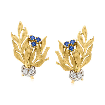 C. 1970 Vintage .75 ct. t.w. Sapphire and .20 ct. t.w. Diamond Flower Clip-On Earrings in 14kt Yellow Gold