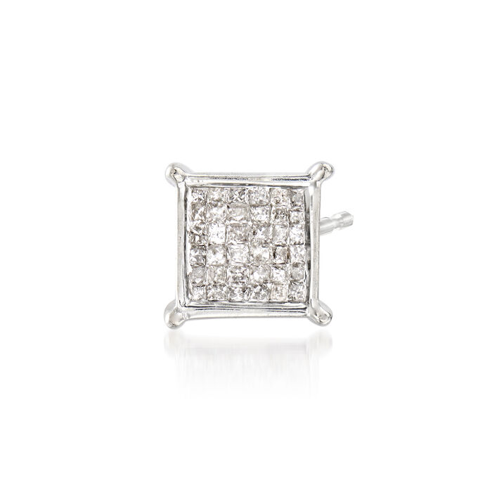 C. 1980 Vintage .50 ct. t.w. Pave Diamond Square Earring in 14kt White Gold, , default