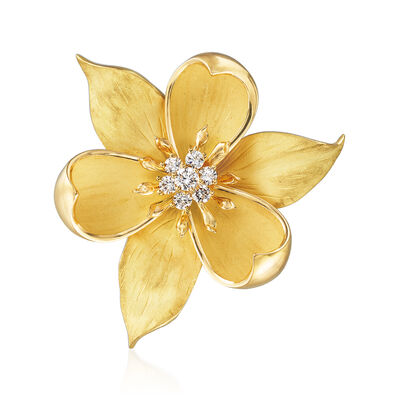 C. 1980 Vintage Tiffany Jewelry .65 ct. t.w. Diamond Magnolia Flower Pin in 18kt Yellow Gold, , default