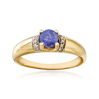 C. 1980 Vintage .55 Carat Tanzanite Ring with Diamond Accents in 14kt Yellow Gold, , default