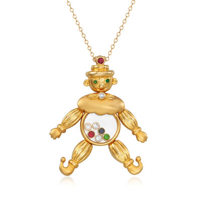 C. 1980 Vintage .15 ct. t.w. Diamond and .14 ct. t.w. Multi-Gemstone Clown Pendant Necklace in 18kt Yellow Gold