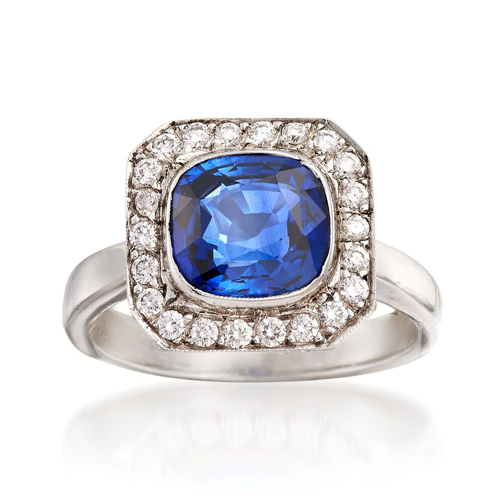 3af59d2e1 C. 2000 Vintage 3.18 Carat Sapphire and .75 ct. t.w. Diamond Ring in ...