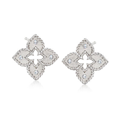 """Roberto Coin """"Venetian Princess"""" Diamond-Accented Floral Earrings in 18kt White Gold"""