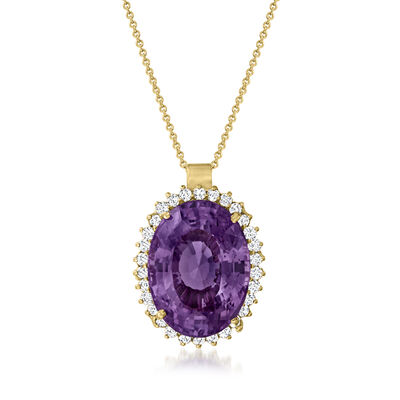 C. 1980 Vintage 20.30 Carat Amethyst Pendant Necklace with 1.00 ct. t.w. Diamonds in 14kt Yellow Gold