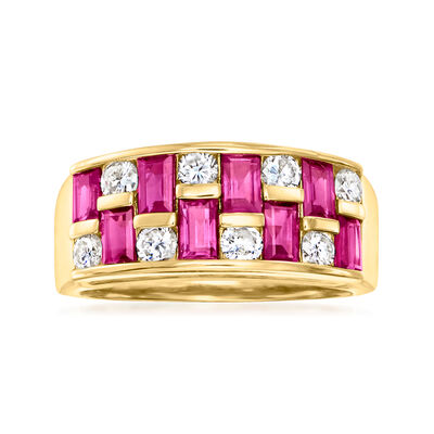 C. 1990 Vintage 1.45 ct. t.w. Ruby and .57 ct. t.w. Diamond Checkerboard Ring in 18kt Yellow Gold
