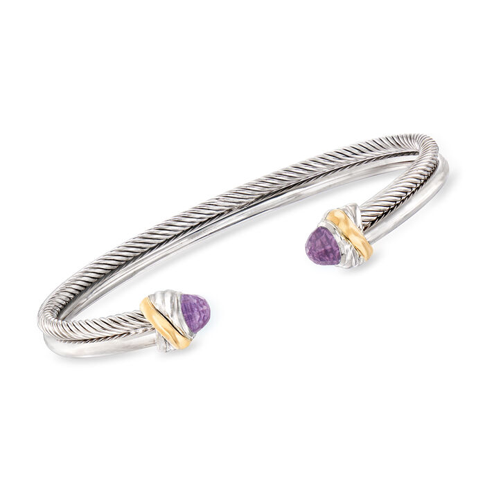 "Phillip Gavriel ""Italian Cable"" .56 ct. t.w. Amethyst Cuff Bracelet in Sterling Silver and 18kt Yellow Gold"