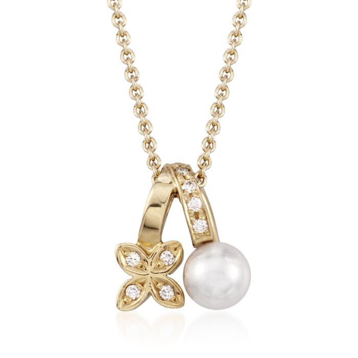 "Mikimoto Akoya Pearl and Diamond Necklace in 18-Karat Yellow Gold. 18"", , default"