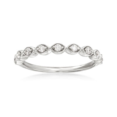 Henri Daussi .17 ct. t.w. Diamond Wedding Ring in 18kt White Gold