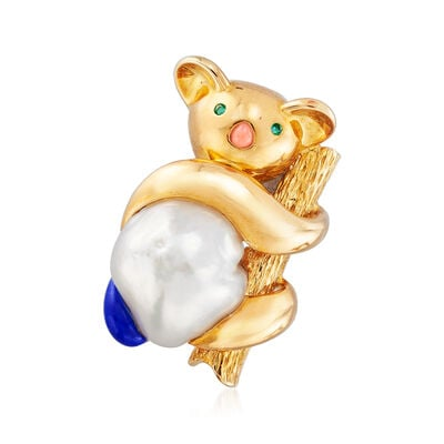 C. 1970 Vintage Cultured Pearl, Coral and Lapis Koala Bear Pin in 18kt Yellow Gold with Emerald Accents