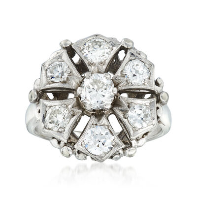 C. 1950 Vintage 1.50 ct. t.w. Diamond Cluster Ring in 14kt White Gold