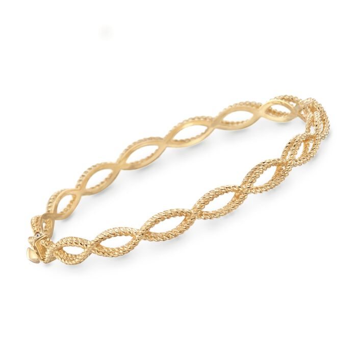 "Roberto Coin Barocco 18-Karat Yellow Gold Braid Bangle. 7"", , default"