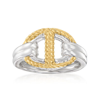 """Judith Ripka """"Vienna"""" Sterling Silver and 18kt Yellow Gold Single-Link Ring"""