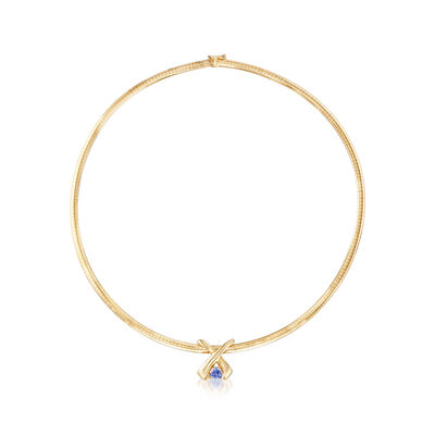 C. 1980 Vintage .65 Carat Tanzanite Pendant Omega Necklace in 14kt Yellow Gold, , default