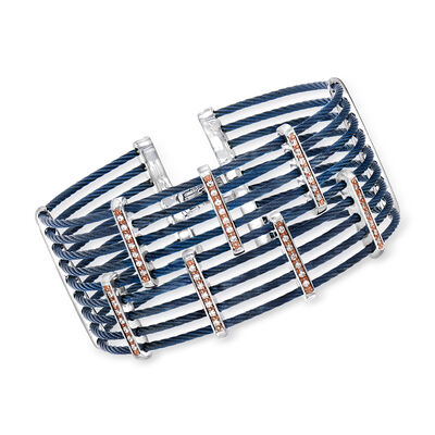 "ALOR ""Classique"" .41 ct. t.w. Diamond Multi-Row Blue Stainless Steel Cable Bracelet with 18kt Rose Gold, , default"