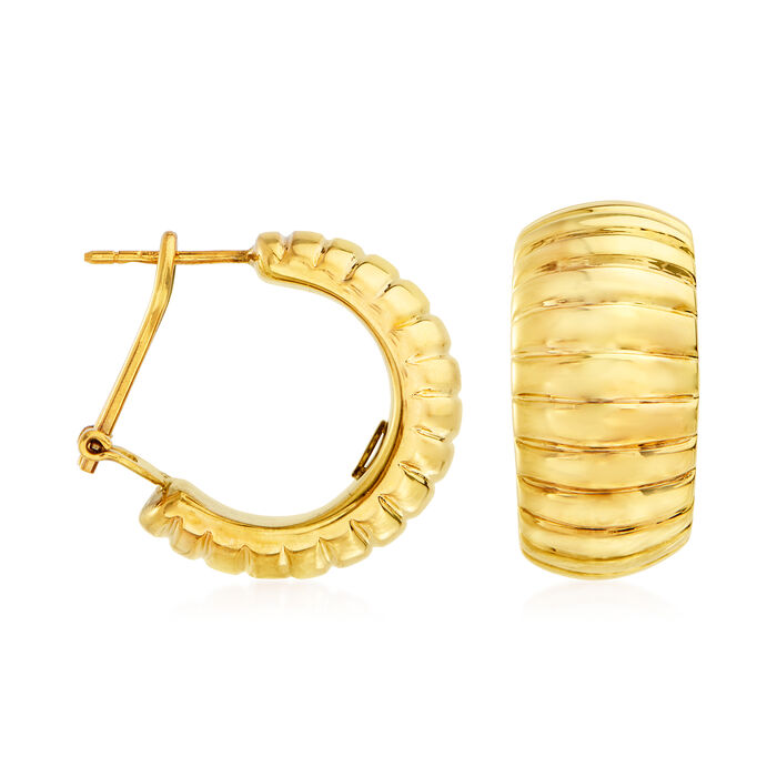 Roberto Coin 18kt Yellow Gold Large Ribbed Hoop Earrings