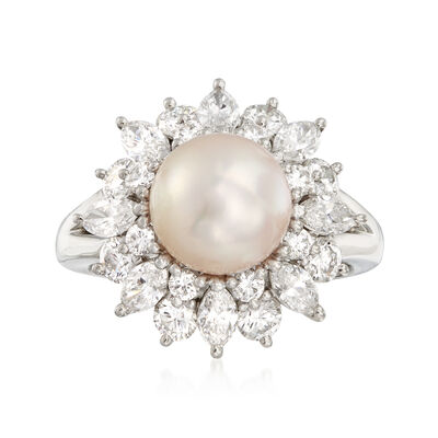 C. 1980 Vintage 8.5mm Cultured Pearl and 1.91 ct. t.w. Diamond Ring in Platinum