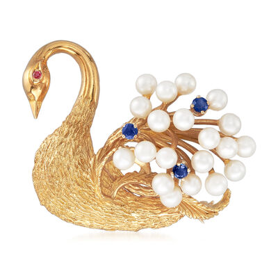 C. 1970 Vintage 4mm Cultured Pearl, .30 ct. t.w. Sapphire and Ruby-Accented Swan Pin in 18kt Yellow Gold, , default
