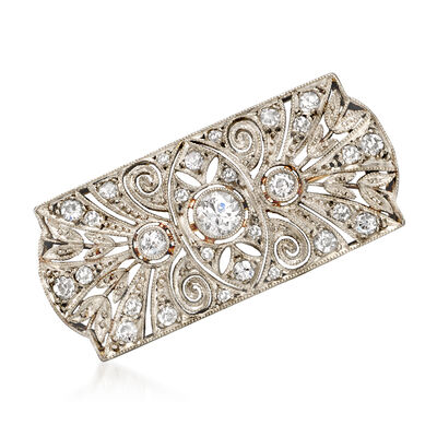 C. 1940 Vintage .85 ct. t.w. Diamond Filigree Pin in Platinum with 10kt White Gold