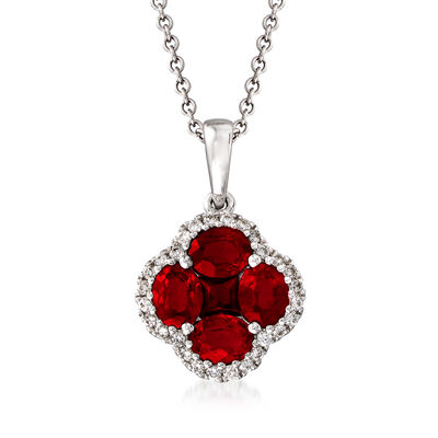 Gregg Ruth 1.43 ct. t.w. Ruby and .14 ct. t.w. Diamond Clover Pendant Necklace in 18kt White Gold