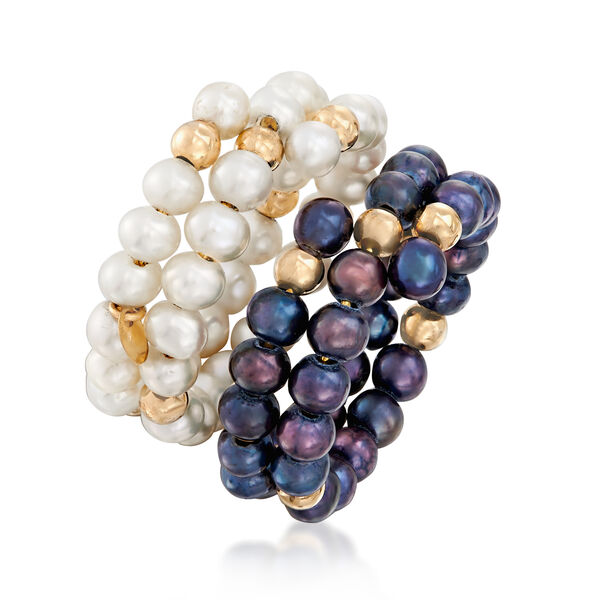 3-4mm Cultured Pearl Jewelry Set: Two Wrap Rings with 14kt Yellow Gold. #929847