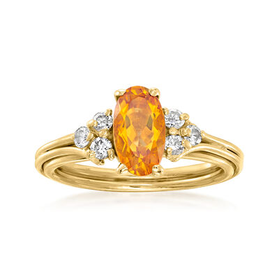 C. 1980 Vintage 1.20 Carat Citrine and .30 ct. t.w. Diamond Ring in 18kt Yellow Gold