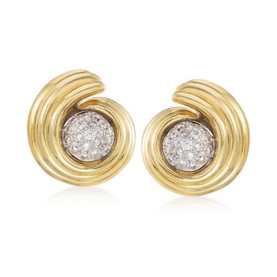 C. 1980 Vintage 1.60 ct. t.w. Diamond Swirl Earrings in 14kt and 18kt Gold, , default