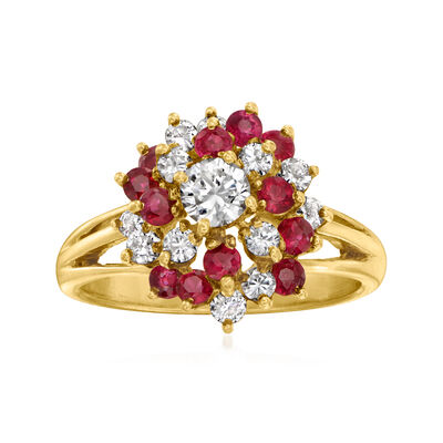 C. 1980 Vintage .75 ct. t.w. Ruby and .65 ct. t.w. Diamond Cluster Ring in 14kt Yellow Gold