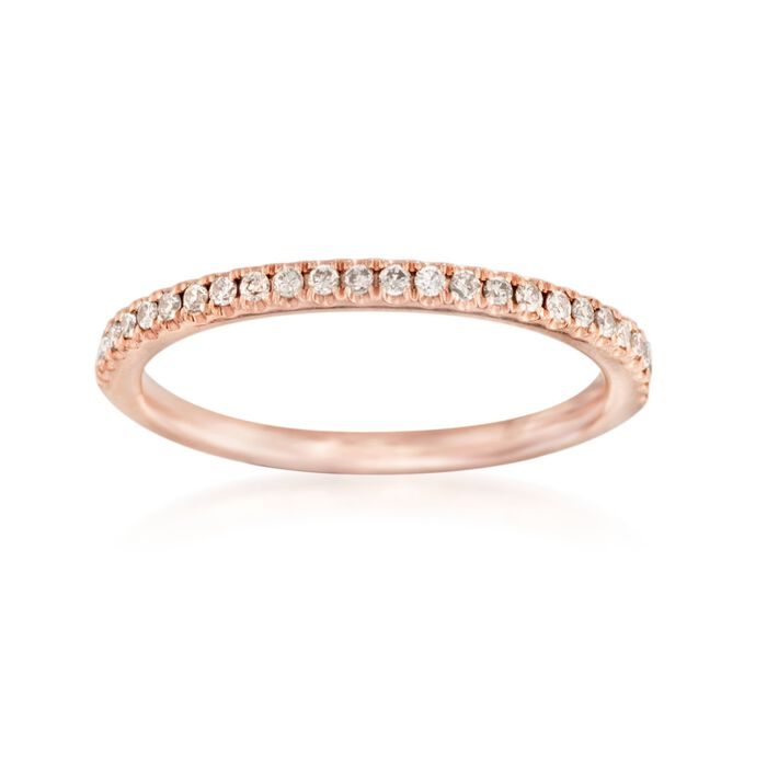 Henri Daussi .16 ct. t.w. Brown Diamond Wedding Ring in 14kt Rose Gold, , default
