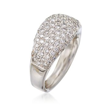 C. 1990 Vintage 1.25 ct. t.w. Pave Diamond Dome Ring in 18kt White Gold. Size 5, , default