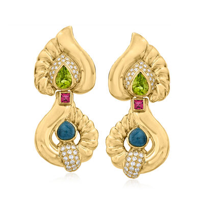 C. 1980 Vintage Blue Tourmaline and 3.20 ct. t.w. Multi-Gemstone Drop Earrings with 1.15 ct. t.w. Diamonds in 18kt Yellow Gold