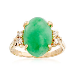 C. 1970 Vintage Jade and .15 ct. t.w. Diamond Ring in 14kt Yellow Gold, , default