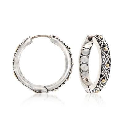 "Phillip Gavriel ""Dragonfly"" Sterling Silver and 18kt Gold Hoop Earrings, , default"