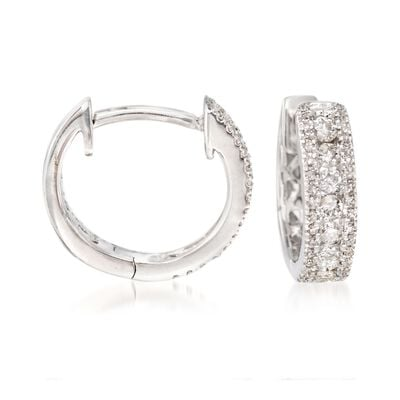 .35 ct. t.w. Diamond Huggie Hoop Earrings in 14kt White Gold, , default