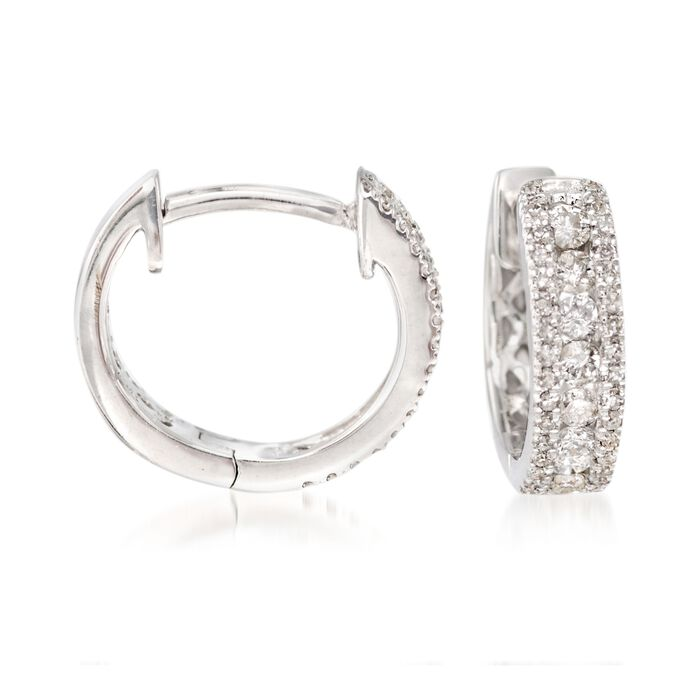 .35 Carat Total Weight Diamond Huggie Hoops in 14-Karat White Gold, , default