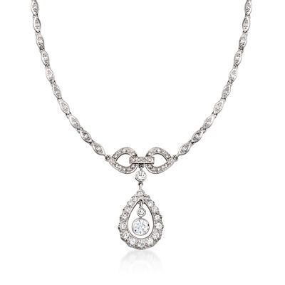 C. 1970 Vintage 3.40 ct. t.w. Diamond Drop Necklace in 14kt White Gold, , default