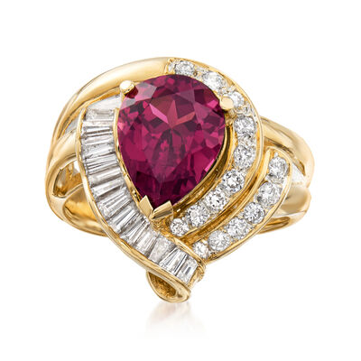 C. 1980 Vintage 3.70 Carat Pink Rhodolite Garnet and .85 ct. t.w. Diamond Ring in 18kt Yellow Gold
