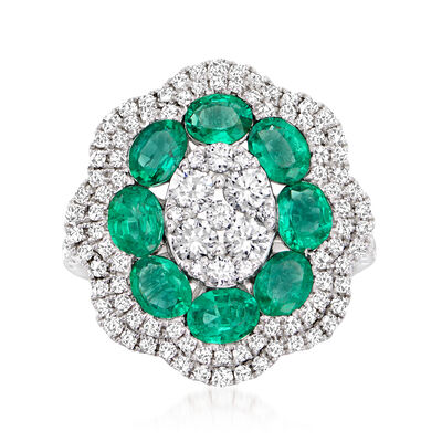 C. 1990 Vintage 2.00 ct. t.w. Emerald and 1.65 ct. t.w. Diamond Ring in 18kt White Gold