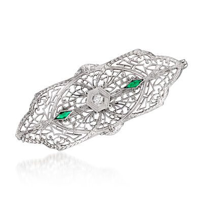 C. 1950 Vintage Green Glass Filigree Pin with Diamond Accent in 10kt White Gold, , default