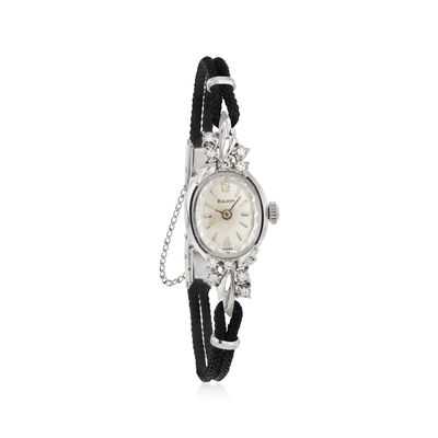 C. 1950 Vintage Bulova Women's 14mm Watch with .10 ct. t.w. Diamonds in 14kt White Gold, , default