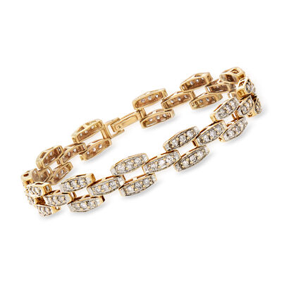 C. 1980 Vintage 2.75 ct. t.w. Diamond Link Bracelet in 10kt Yellow Gold, , default