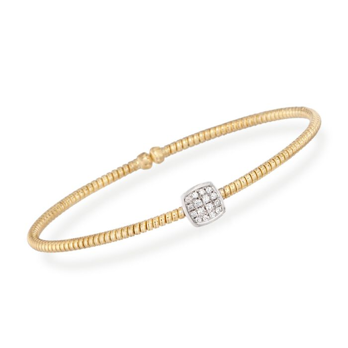 "Simon G. .16 Carat Total Weight Diamond Square Flex Bangle in 18-Karat Yellow Gold. 7"", , default"