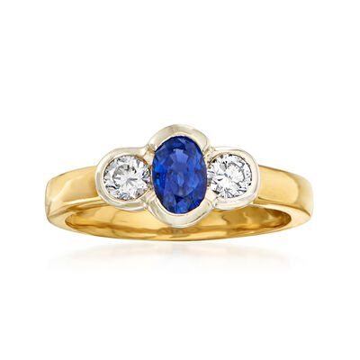 C. 1980 Vintage .60 Carat Sapphire and .30 ct. t.w. Diamond Ring in 18kt Yellow Gold