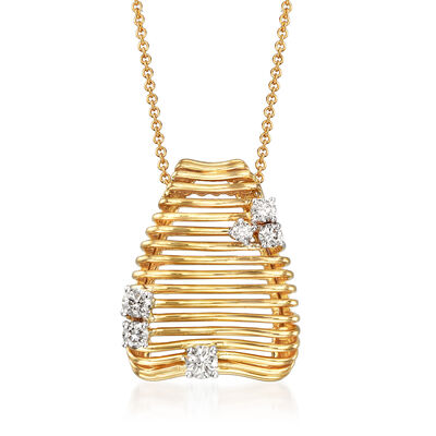 Simon G. .34 ct. t.w. Diamond Beehive Pendant Necklace in 18kt Yellow Gold, , default