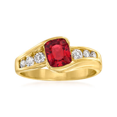 C. 1980 Vintage 1.20 Carat Red Spinel and .30 ct. t.w. Diamond Ring in 14kt Yellow Gold