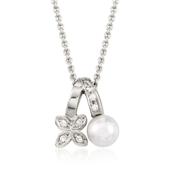 "Mikimoto Akoya Pearl and Diamond Necklace in 18-Karat White Gold. 18"", , default"