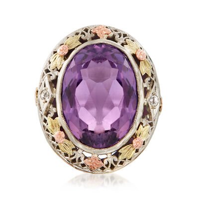 C. 1950 Vintage 8.00 Carat Amethyst Ring with Diamond Accents in 14kt Tri-Colored Gold