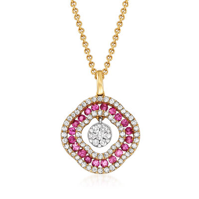 C. 1990 Vintage Giantti .40 ct. t.w. Pink Sapphire and .35 ct. t.w. Diamond Pendant Necklace in 18kt Yellow Gold, , default