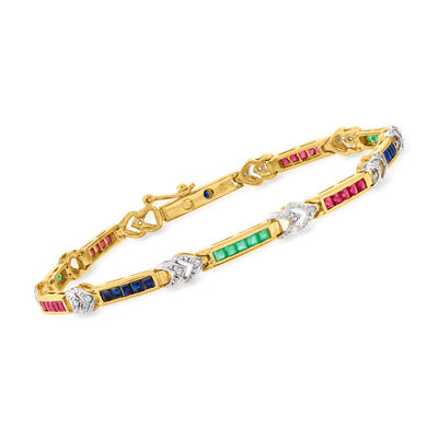 C. 1980 Vintage 3.70 ct. t.w. Multi-Gemstone and .10 ct. t.w. Diamond Section Bracelet in 14kt Yellow Gold
