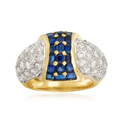 C. 1980 Vintage 2.32 ct. t.w. Sapphire and 1.41 ct. t.w. Pave Diamond Ring in 18kt Yellow Gold
